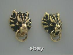 Final Fantasy VII FF 7 Cloud Strife Wolf Earrings 14k Yellow Gold Cosplay